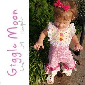 Giggle Moon Pink Damask Sleeveless Romper